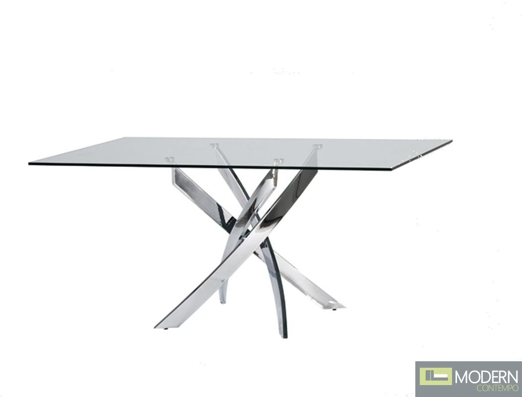 Home Modrest Pyrite Modern Rectangular Glass Dining Table