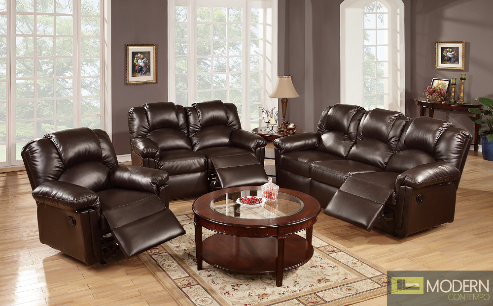 3pc Espresso Bonded Leather Motion Loveseat sofa and Chair.  MCGSL667456, Free 24 to 72 hours inside delivery in DMV Area