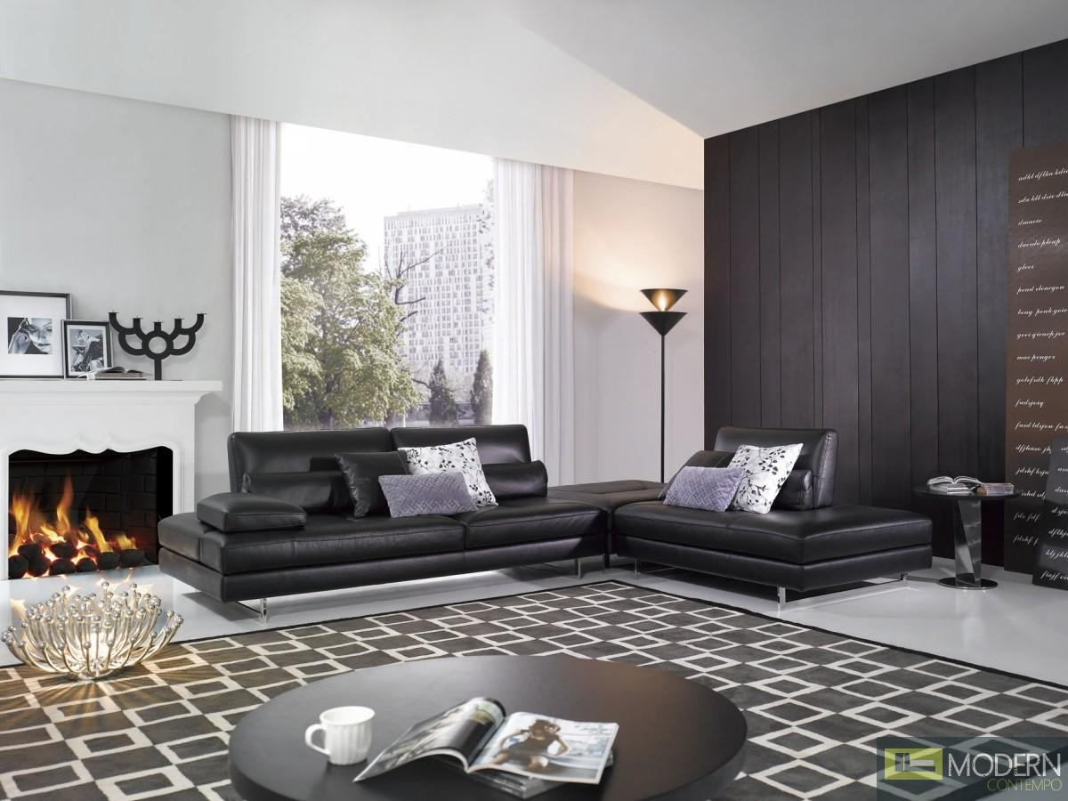 Divani Casa FF135 Modern Black Leather Sectional Sofa Set