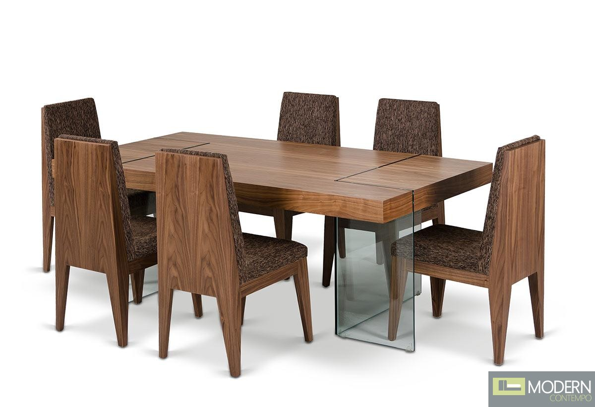 Modrest Aura Contemporary Walnut Floating Table With Six Chairs Dining Set
