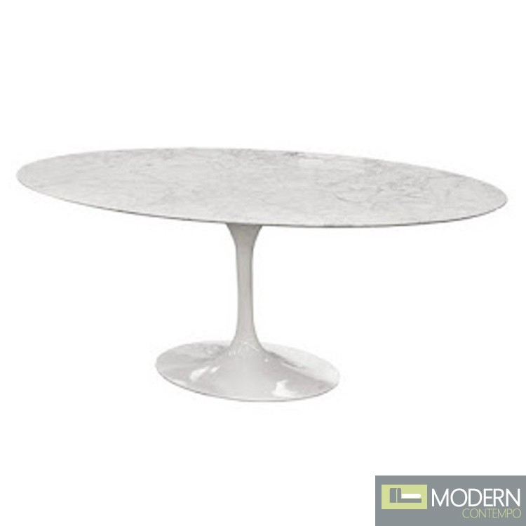 """Flower Marble Table Oval 78"""", White"""