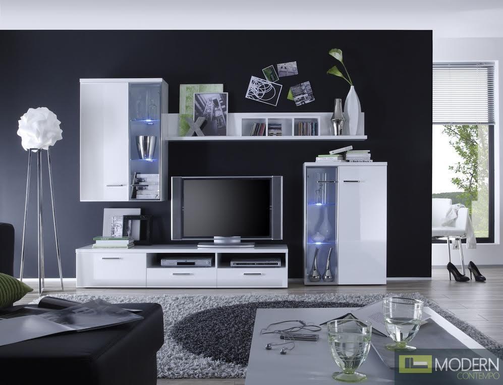 Modern White Entertainment Center Media Wall Unit