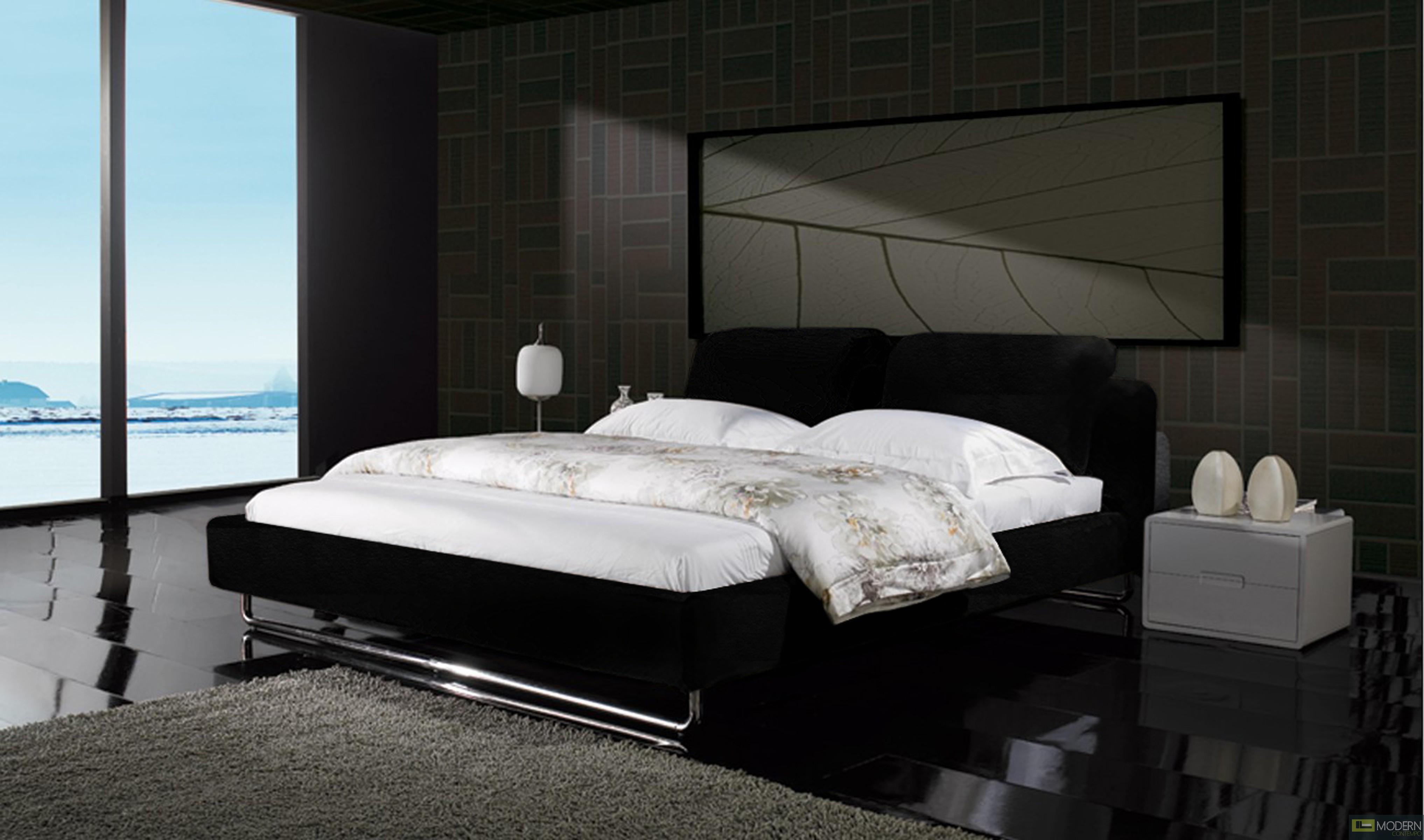 Zuritalia Modern Contemporary Ebony Queen Leatherette Platform Bed