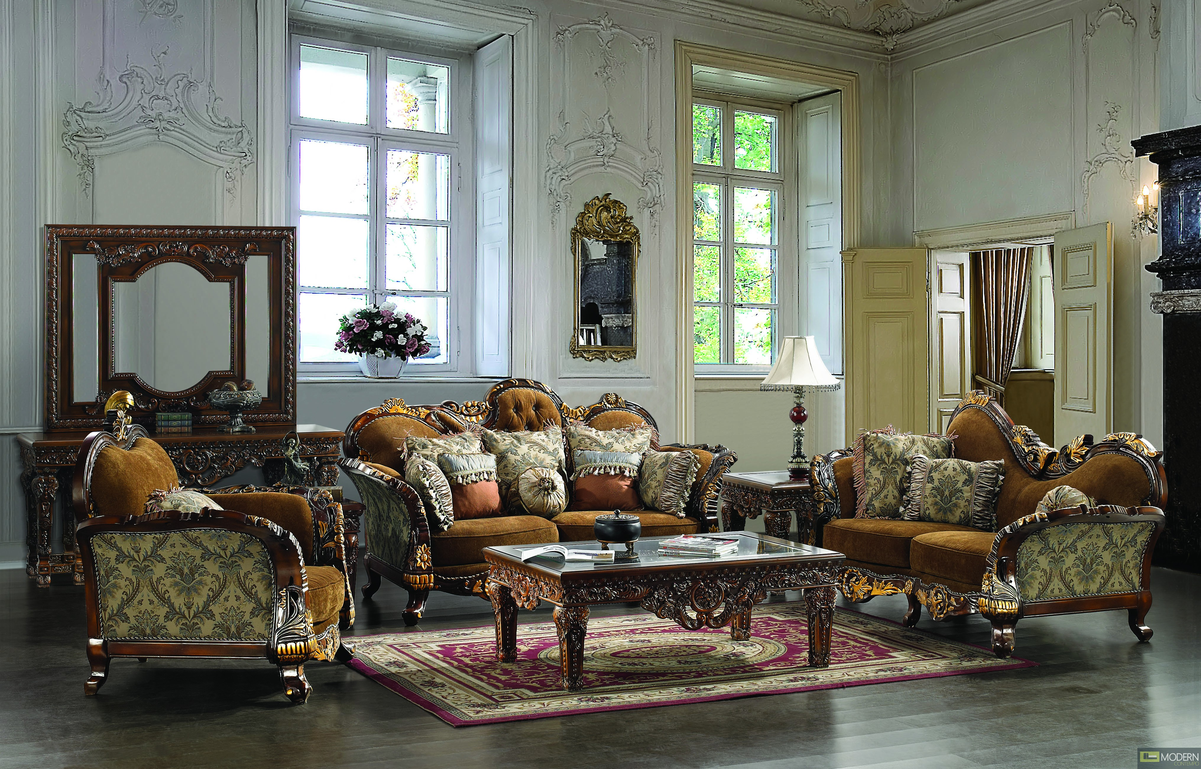 Leather Fabric Traditional Sofa Set Formal Living Room Furniture