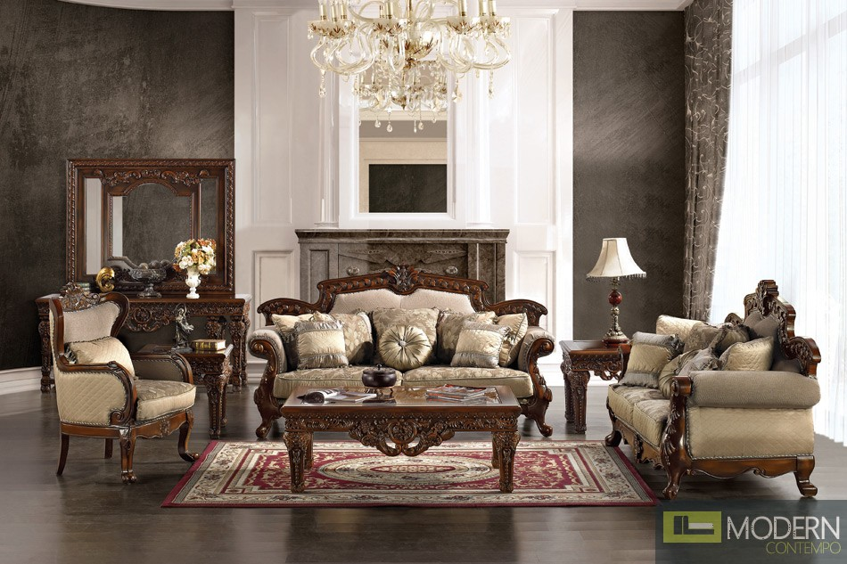Formal victorian style living room antique style luxury for Drawing room furniture set
