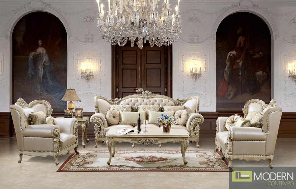 Luxurious traditional style formal living room furniture for Front room furniture sets