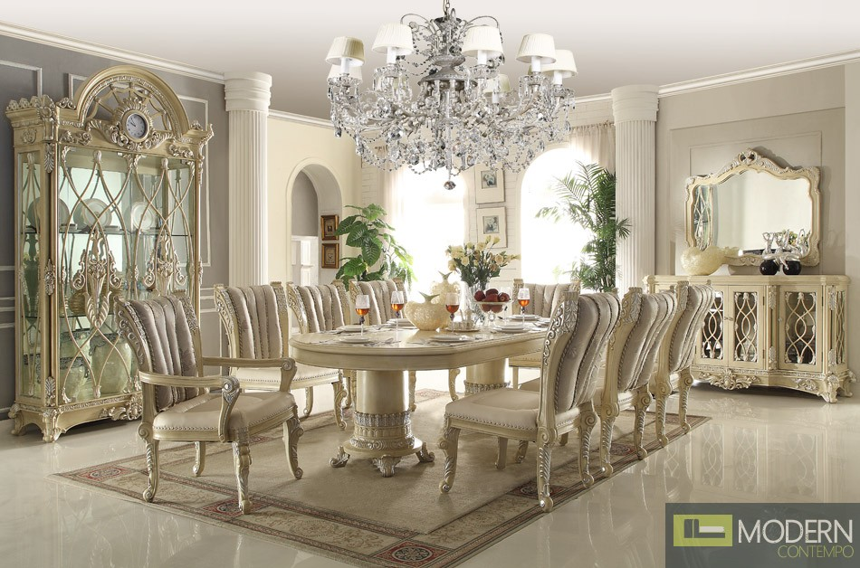7PC Traditional Cream Beige Table & Chairs Antique Dining ...