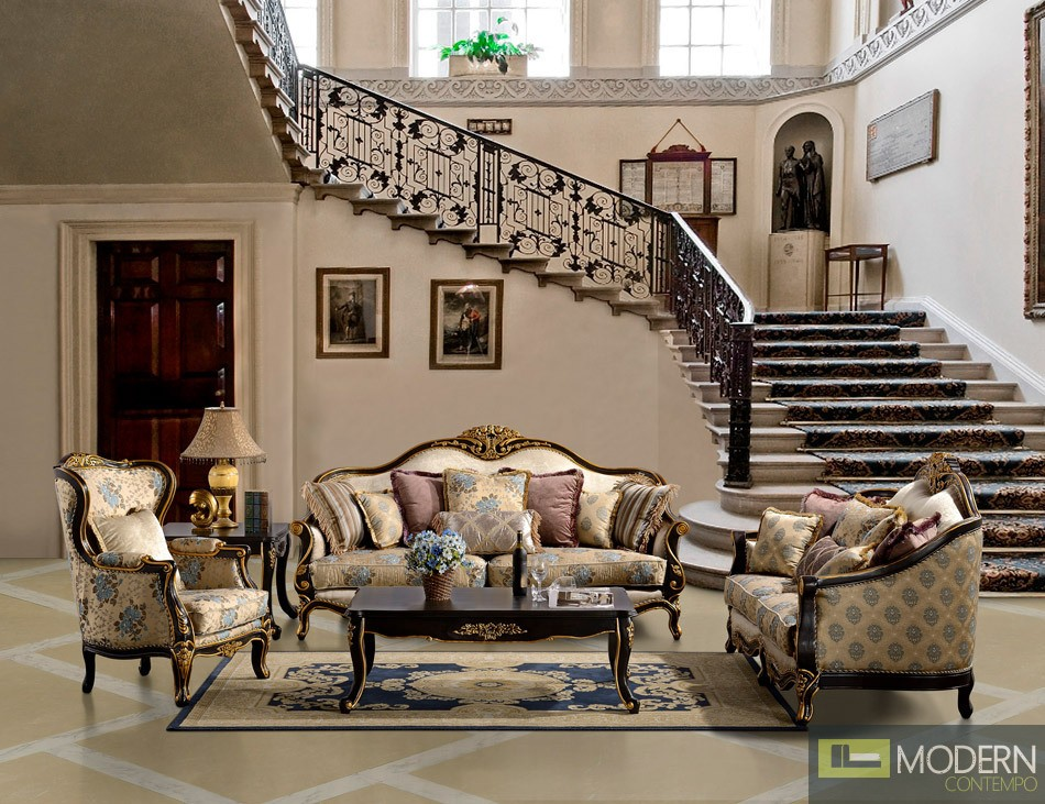 Formal luxury sofa and love seat traditional living room for Classic living room furniture