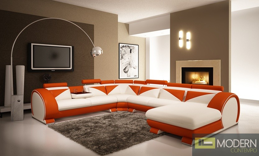 modern white and orange leather sectional sofa with headrests. Black Bedroom Furniture Sets. Home Design Ideas
