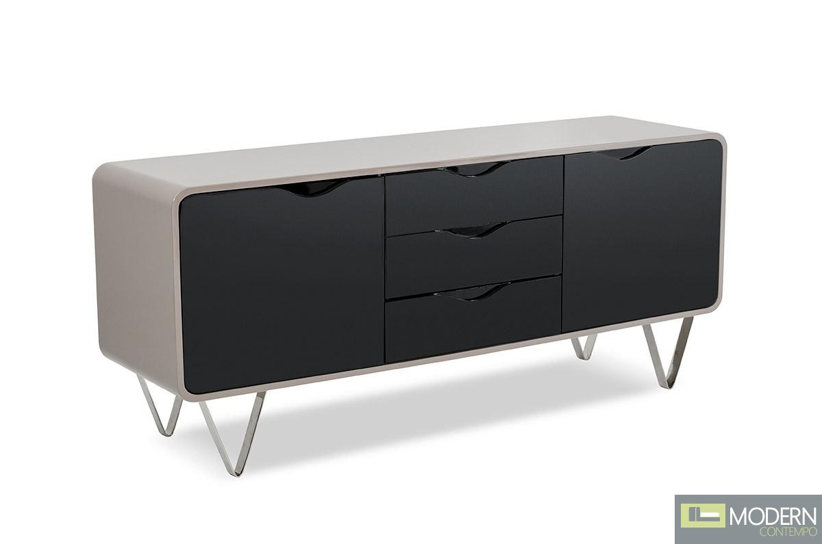 Modrest claiborne modern taupe and black gloss buffet for Sideboard taupe