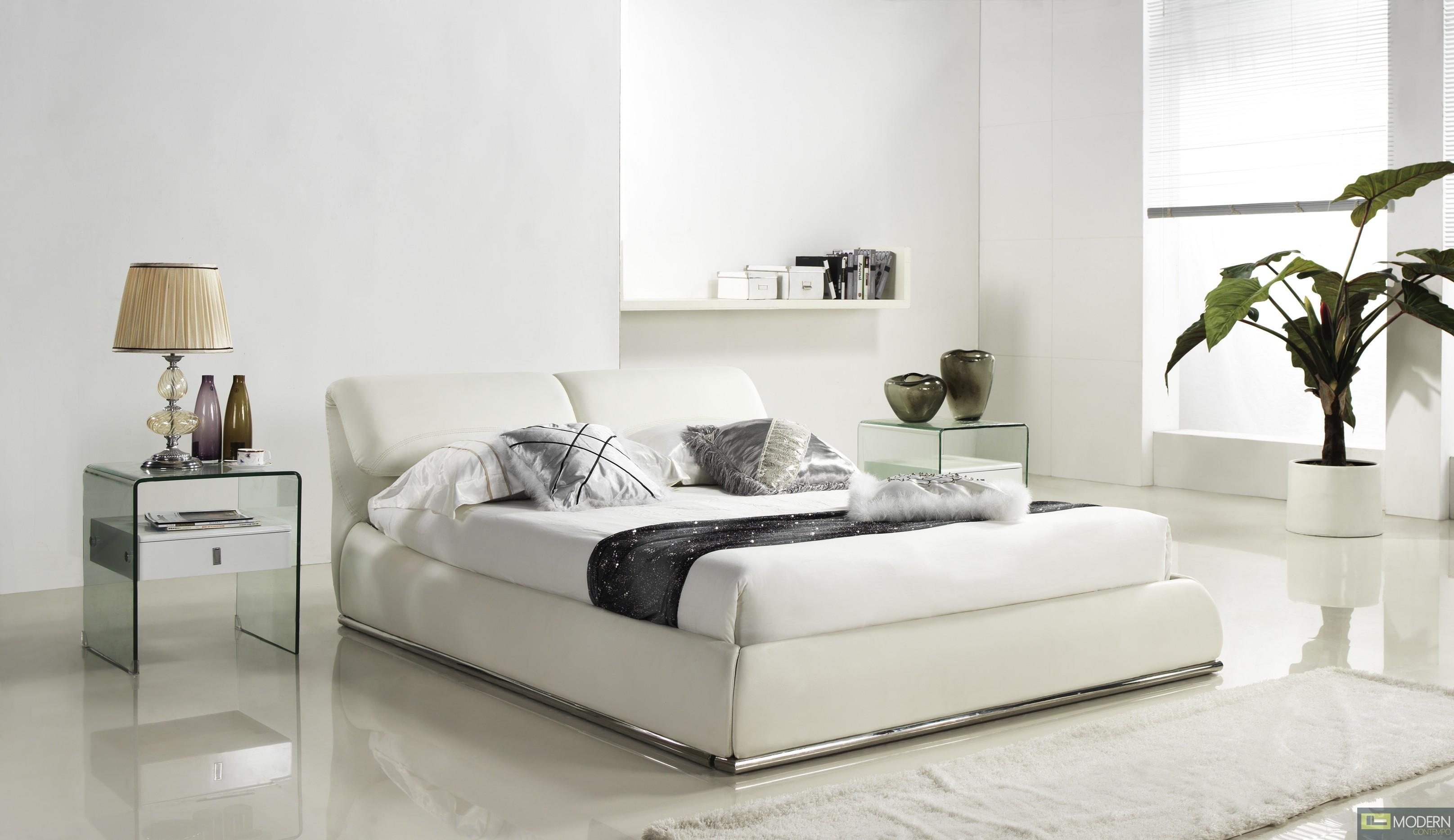 Jessie White Leather Platform Bed