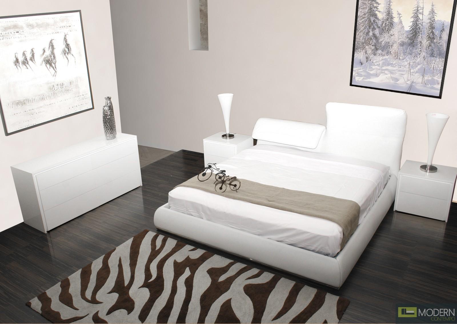 jessie white leather platform bed. Black Bedroom Furniture Sets. Home Design Ideas