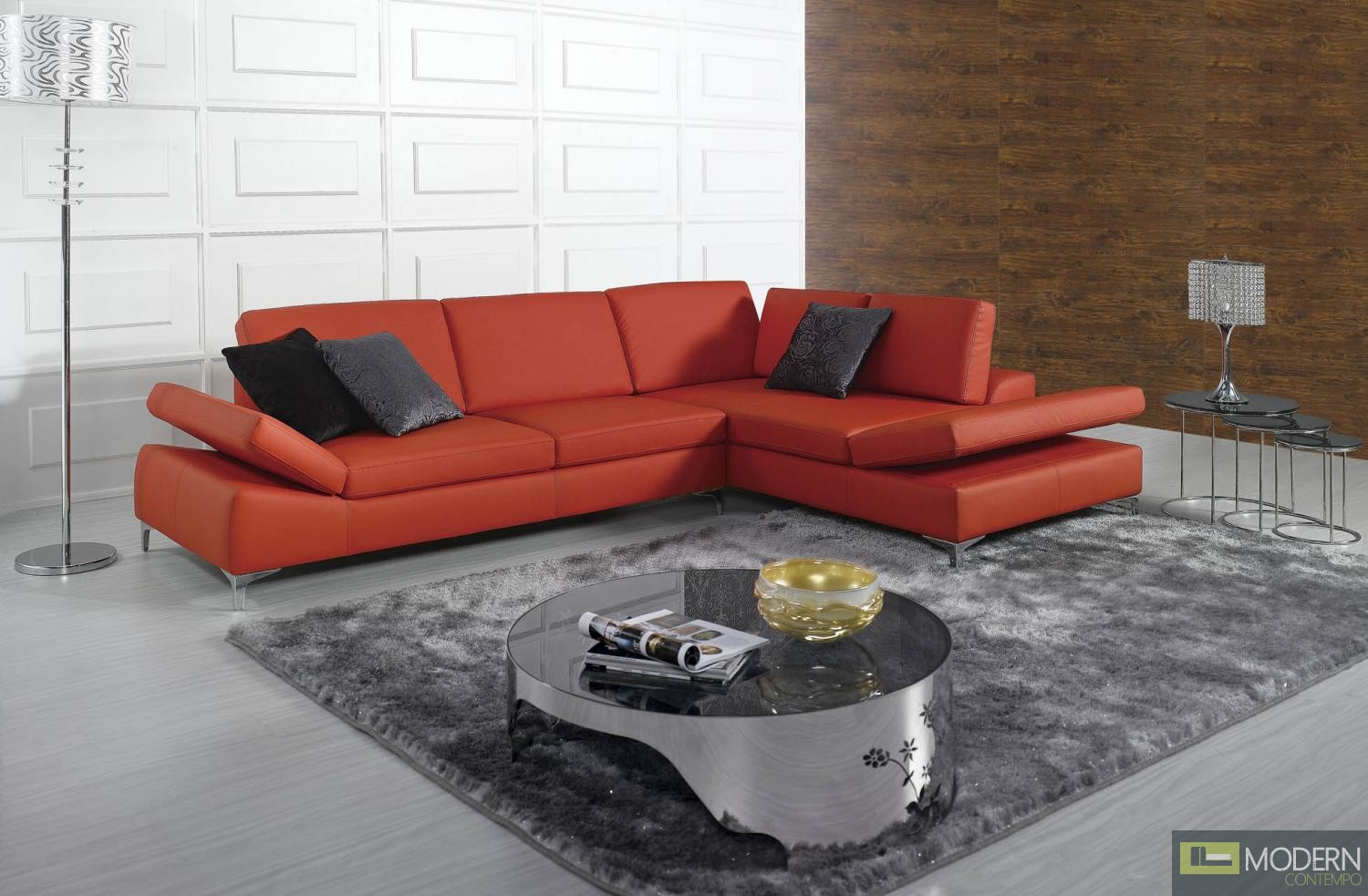 Divani Casa K8382 - Modern Bonded Leather Sectional Sofa