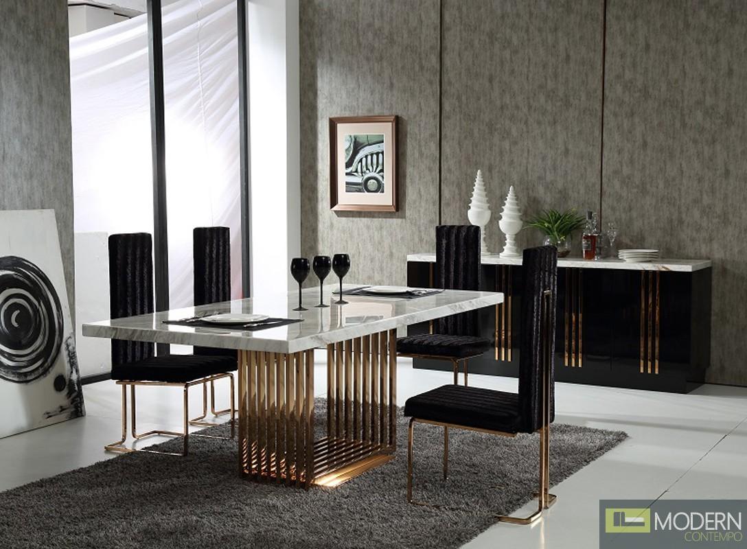 Modern Da Vittorio MARBLE & ROSEGOLD DINING TABLE