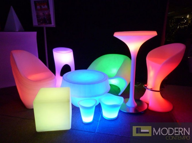 Illuminated Lighted Rechargeable Led Bar Stool With Color