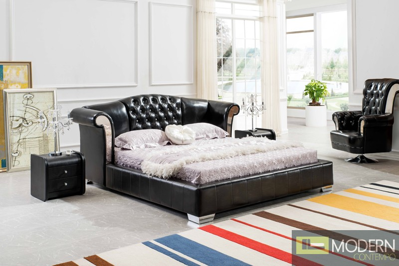 Neoclassic Black Italian Leather King Size Bed