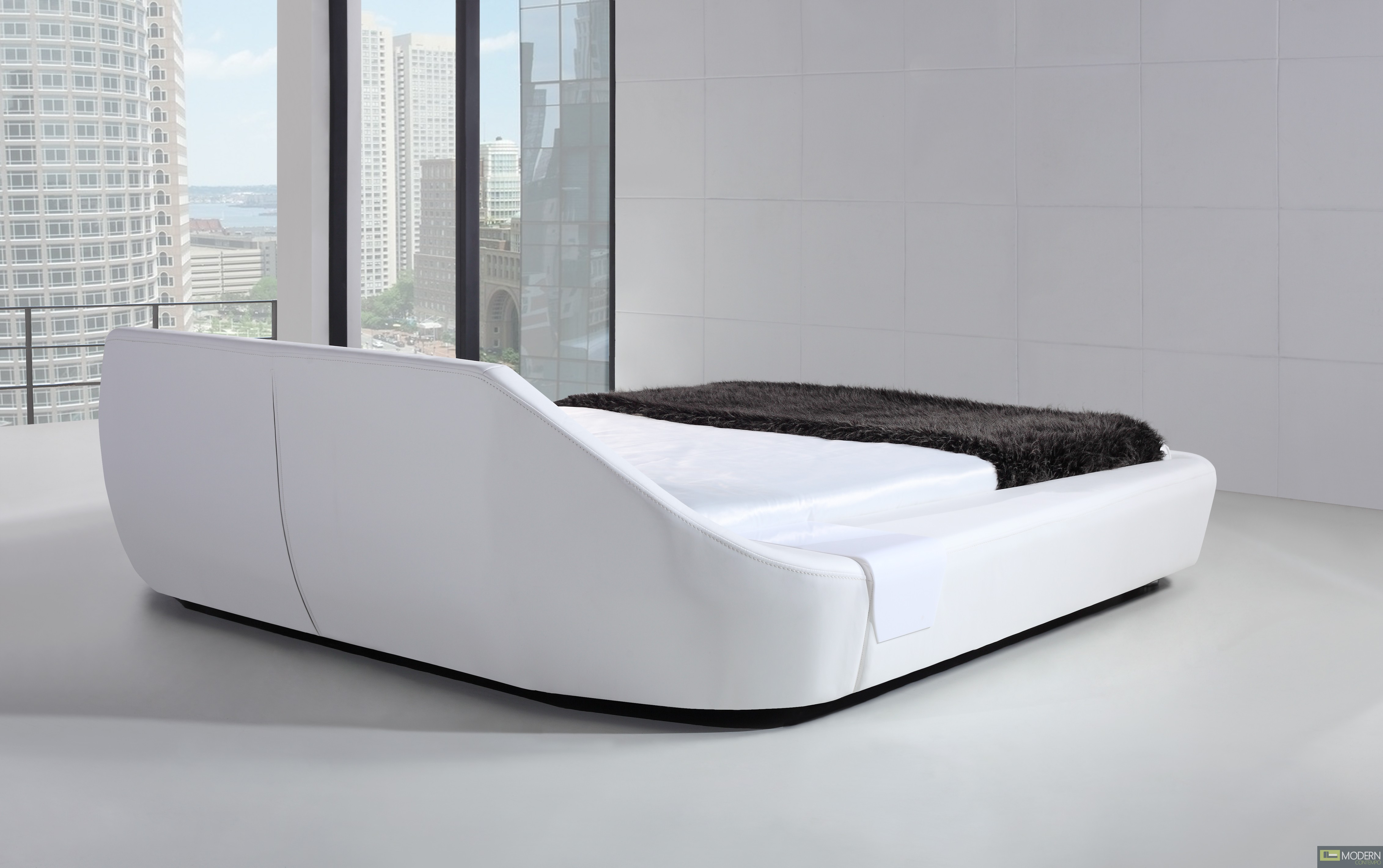 yeolani home modern contemporary taupe leather platform bed inspire -