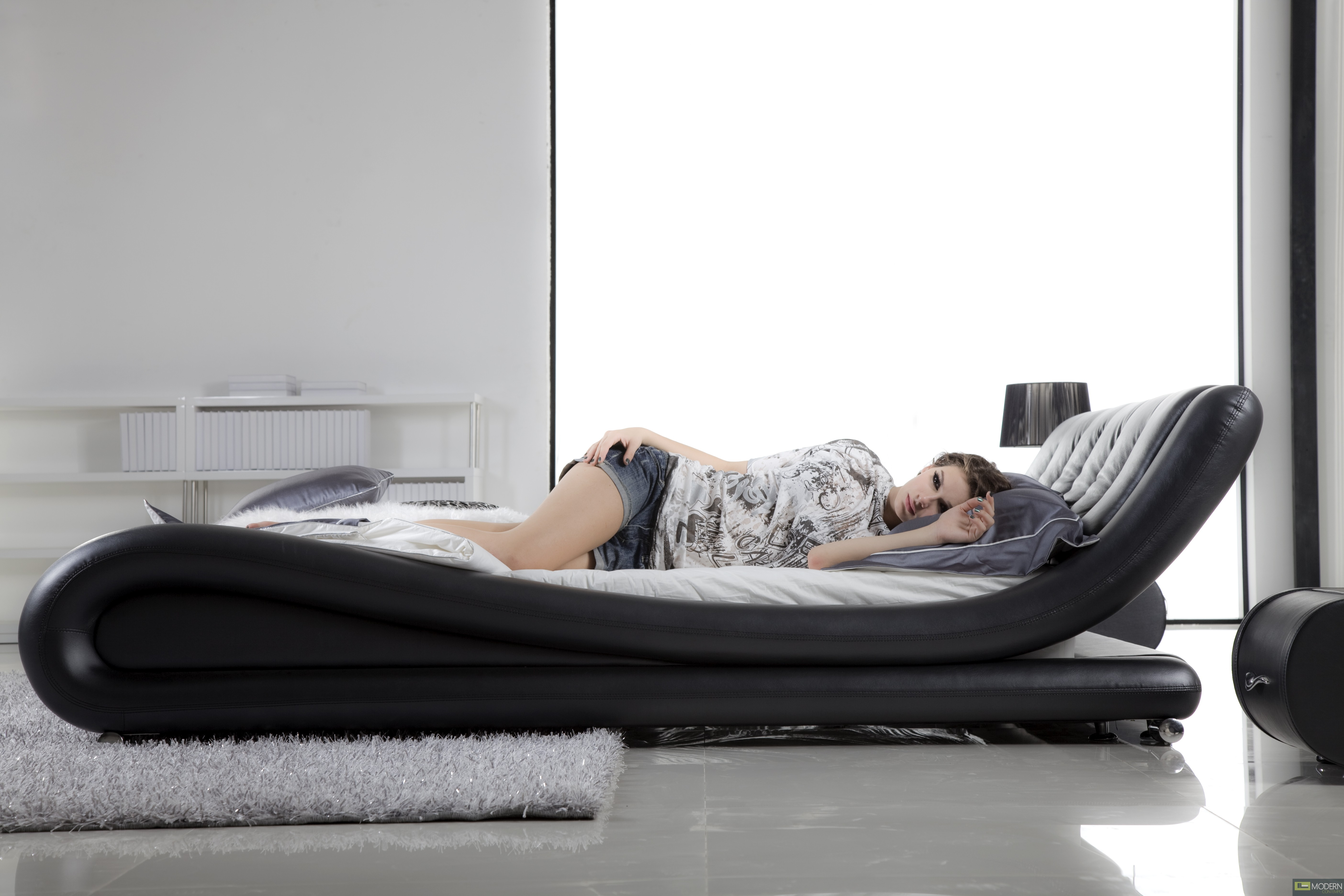 porto  modern contemporary charcoal leather platform bed.  iq bed modern contemporary charcoal leather platform bed iq