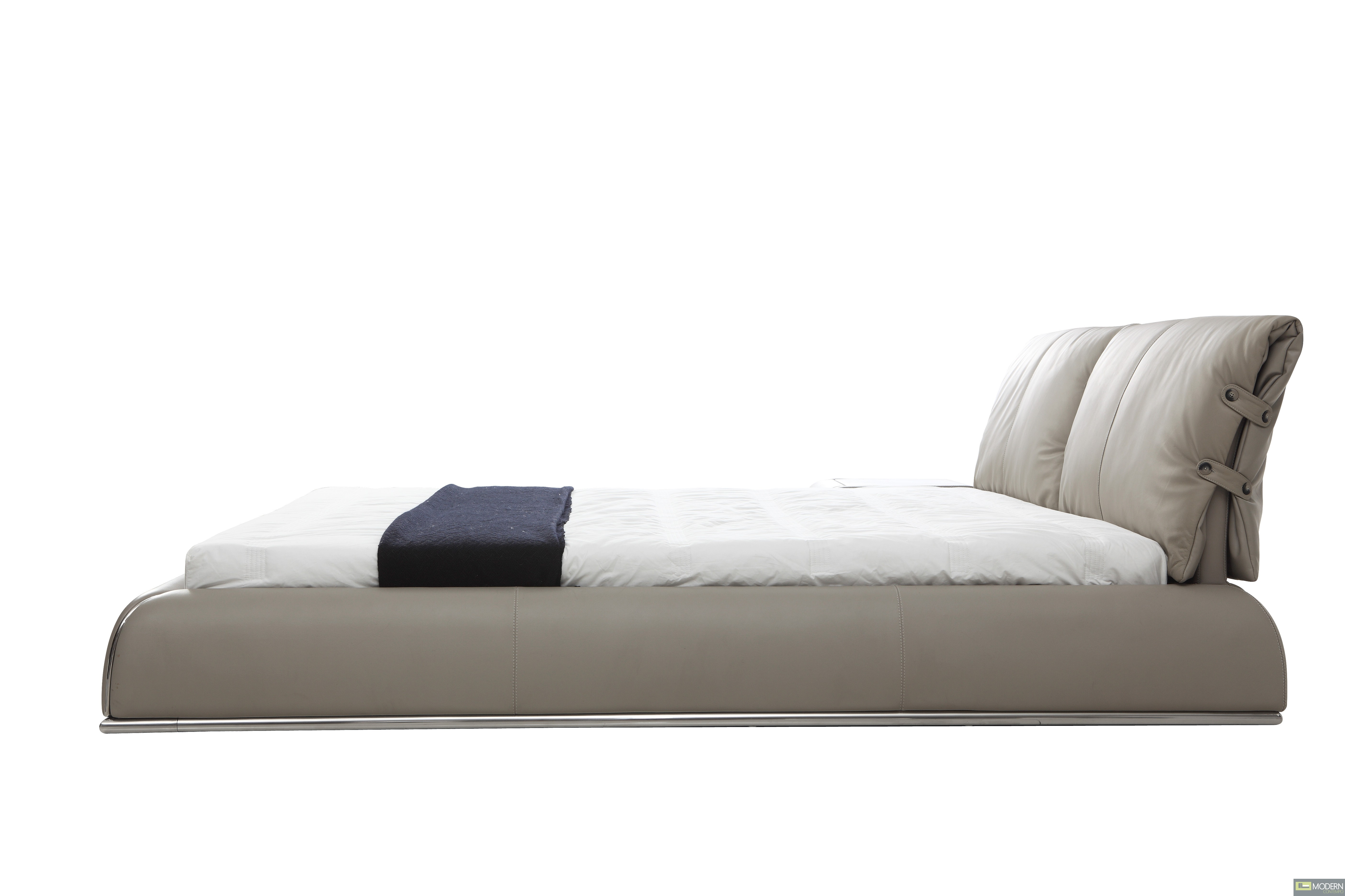 Yeolani Home Modern Contemporary Dark Grey Leather Platform Bed -FADE