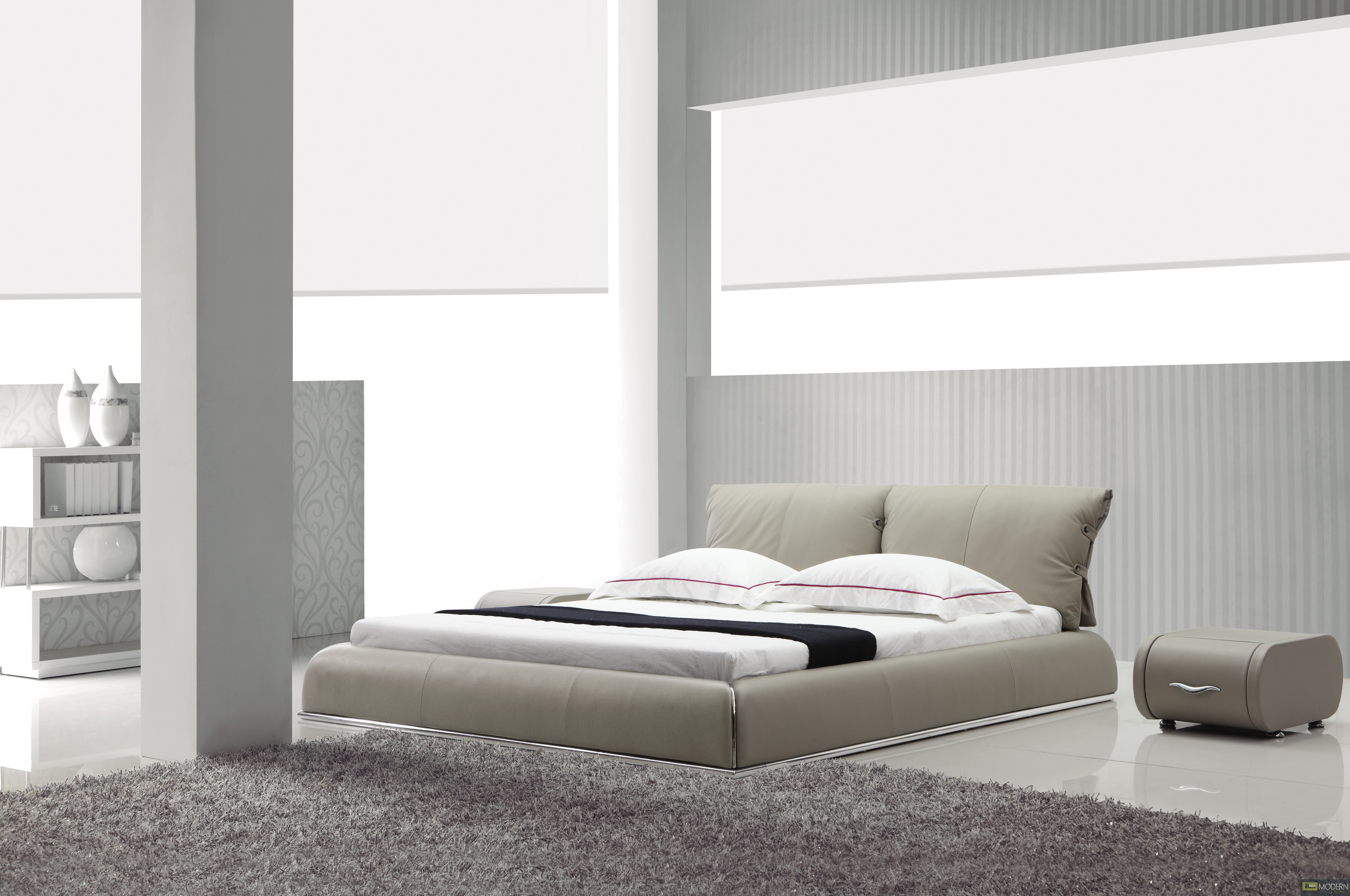 yeolani home modern contemporary beige leather platform bed fade -  yeolani home modern contemporary dark grey leather platform bed fade