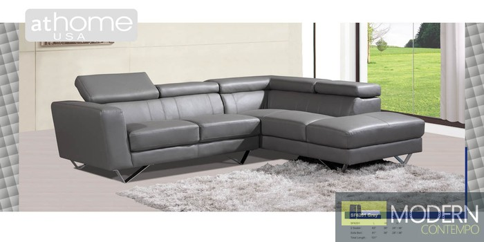 Genuine Italian Leather Sectional Sofa Nadia Modern Genuine Italian Leather Sectional Sofa