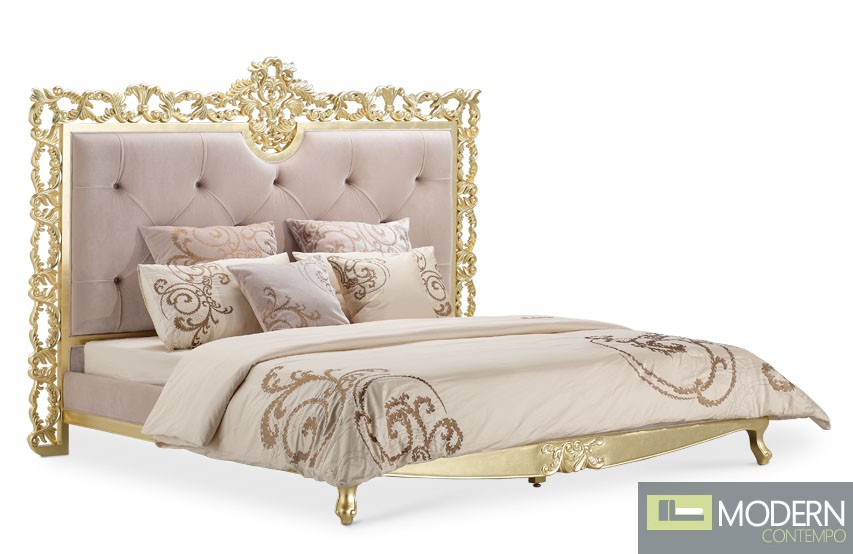 Cinzia Baroque Gold Platform bed
