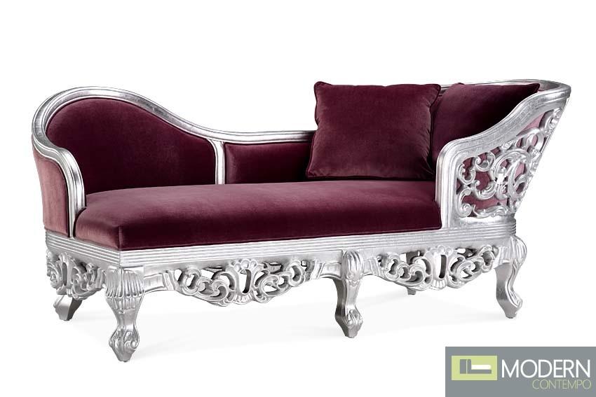 Elnora rococo velvet baroque chaise sofa - Chaise baroque argentee ...