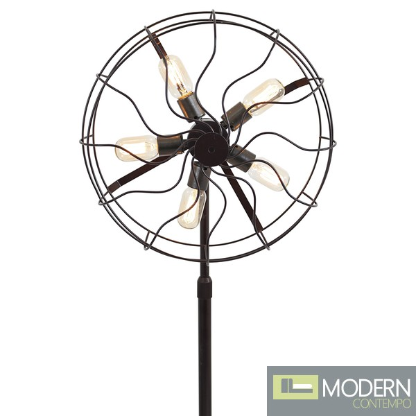 Ozzy Industrial Vintage Fan Floor Lamp
