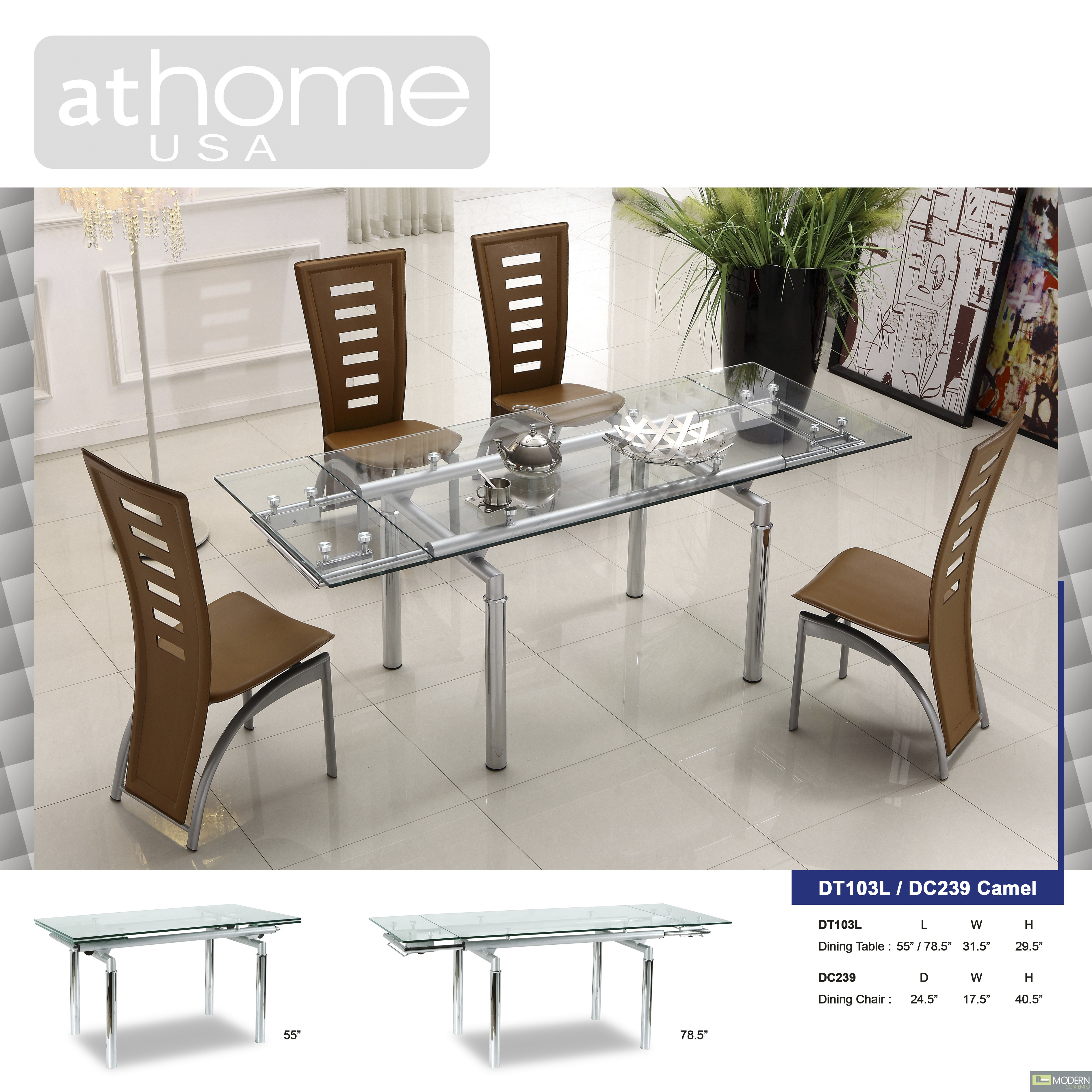 Camilla Modern Extendable Glass Dining Table