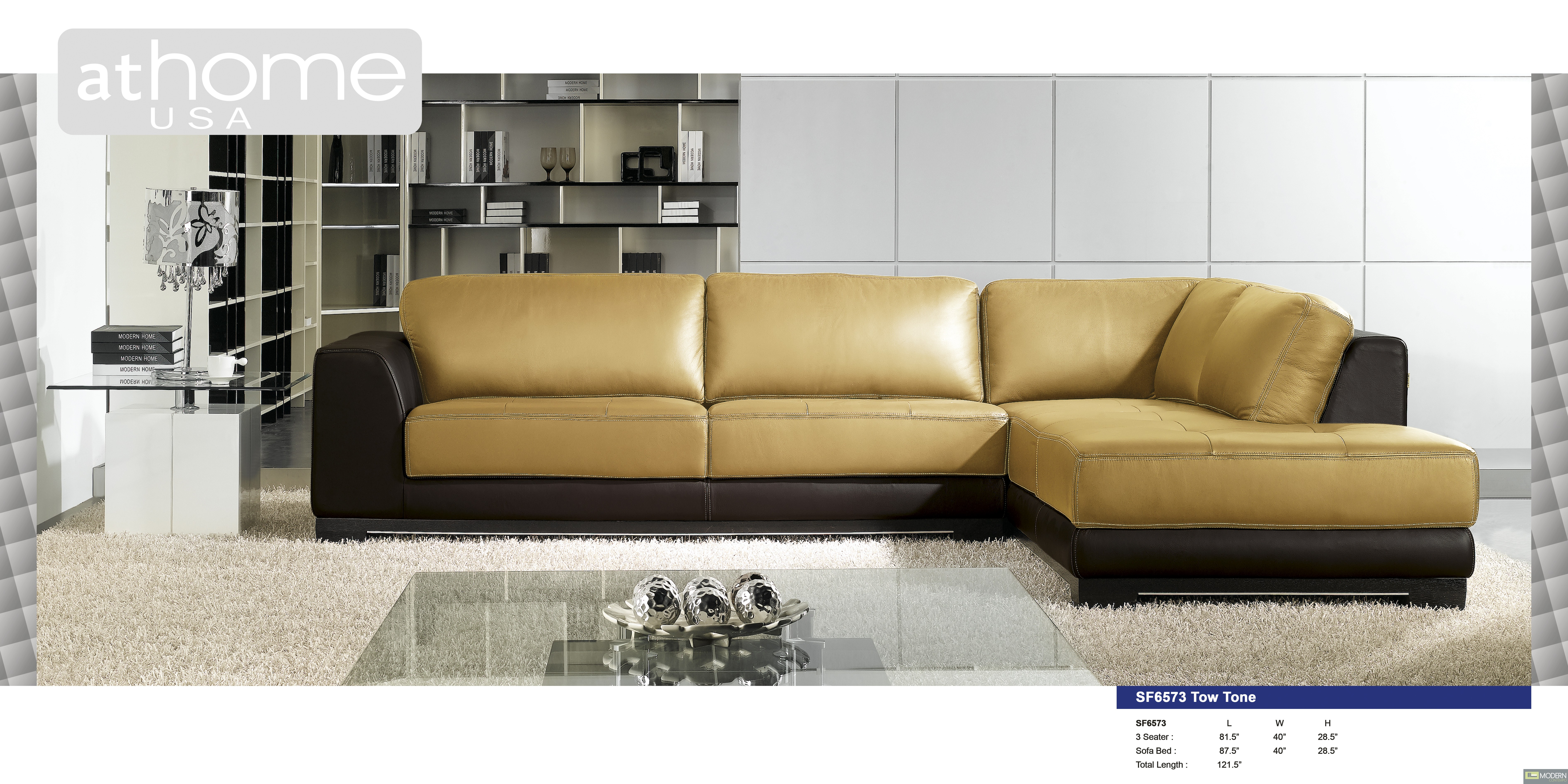 Modern Two Tone Bonded Leather Sectional Sofa