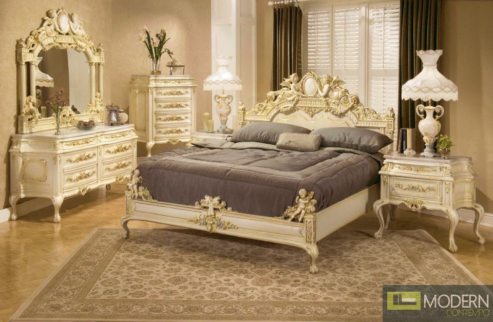 Traditional Formal High End Provincial Style Antique Bed Set ZP3321