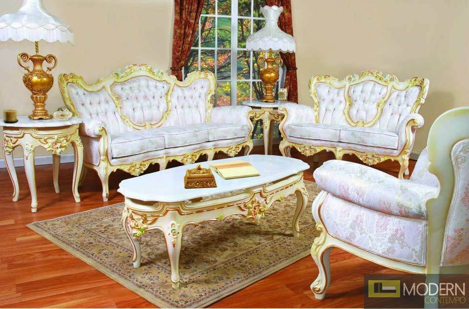 High end Classic Provincial Victorian Sofa Loveseat Chair Living ...