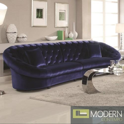 Romania Blue Velvet Tufted Sectional Sofa