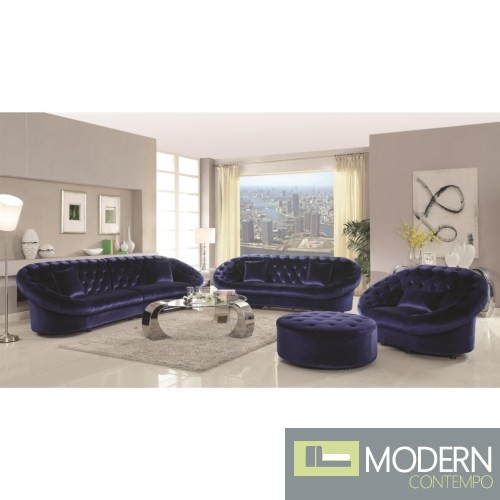 4Pc Romania blue Velvet Tufted Sofa Set