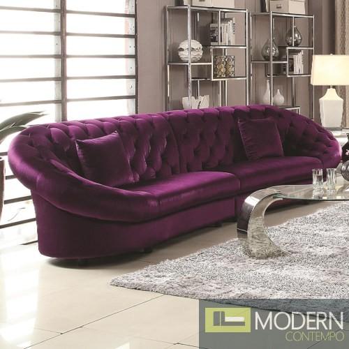 Romania Purple Velvet Tufted Sectional Sofa