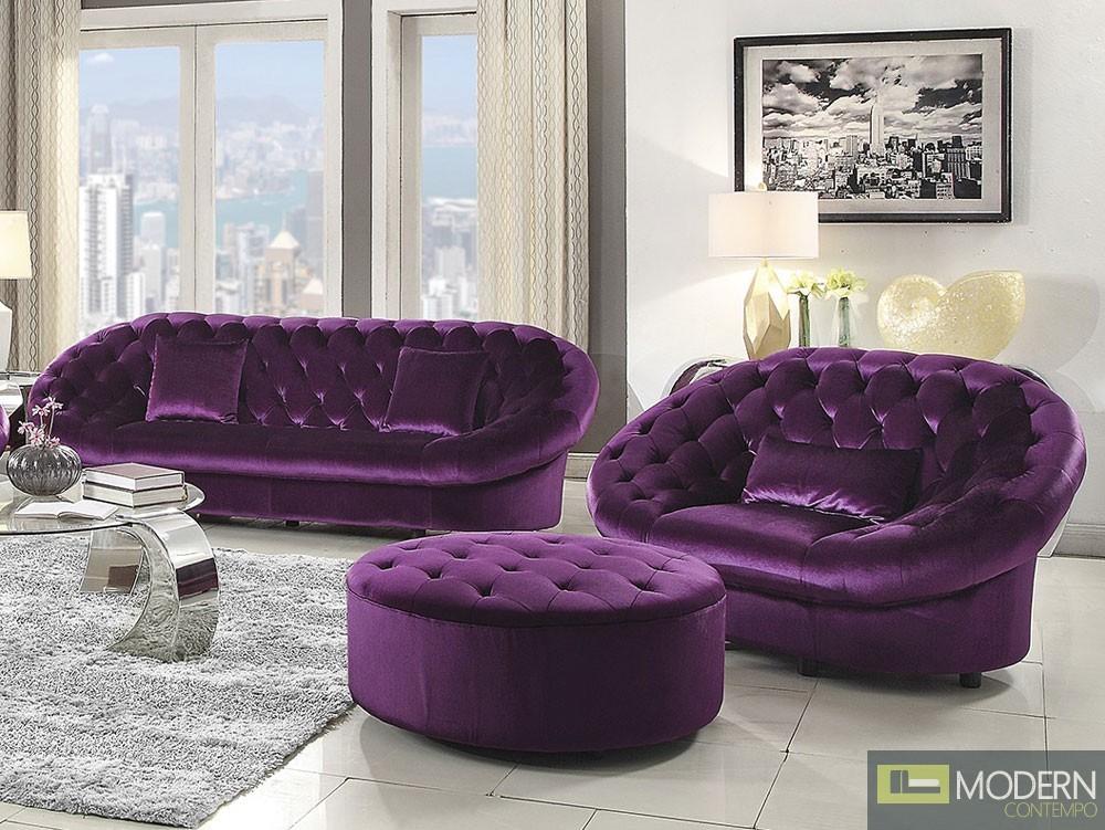 Romania Purple Velvet Tufted Sofa