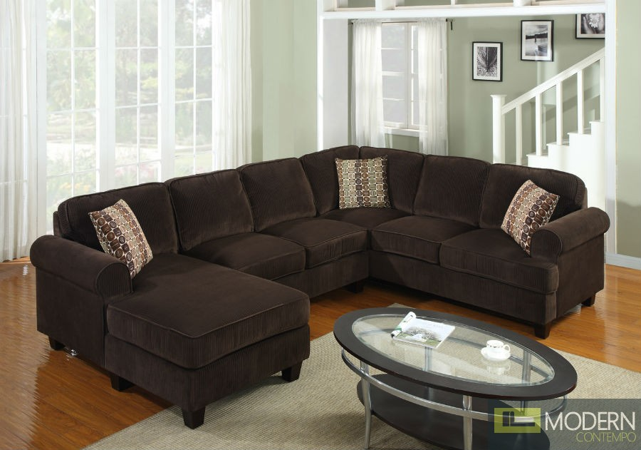 3 pc modern brown corduroy sectional sofa living room set for Brown corduroy couch