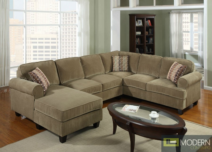 3 Pc Modern Brown Corduroy Sectional Sofa Living Room Set TBQS727P3