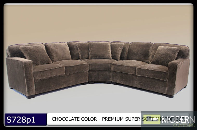 3 pc modern chocolate microfiber sectional sofa set living for Sofa bed 91762