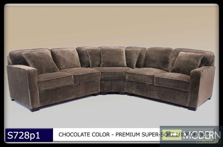 3 Pc Modern Chocolate Microfiber Sectional Sofa Set Living