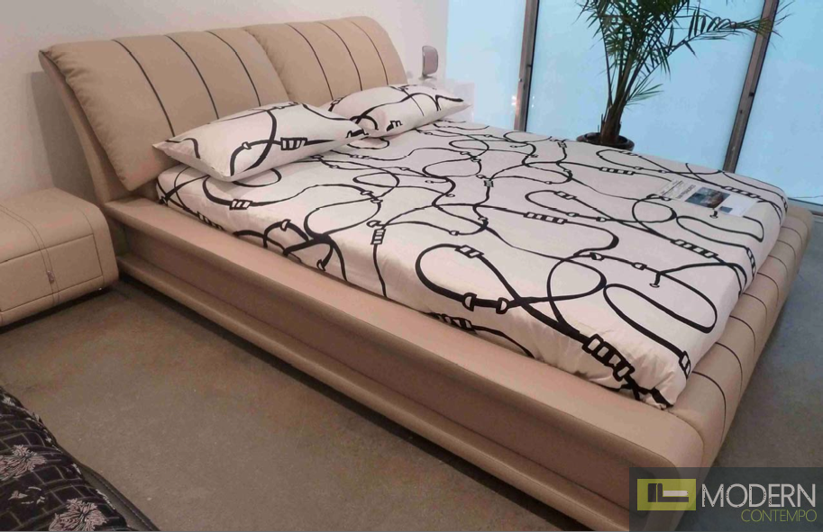 YEOLANI HOME Modern White Leather Platform Bed with Blue Led Light