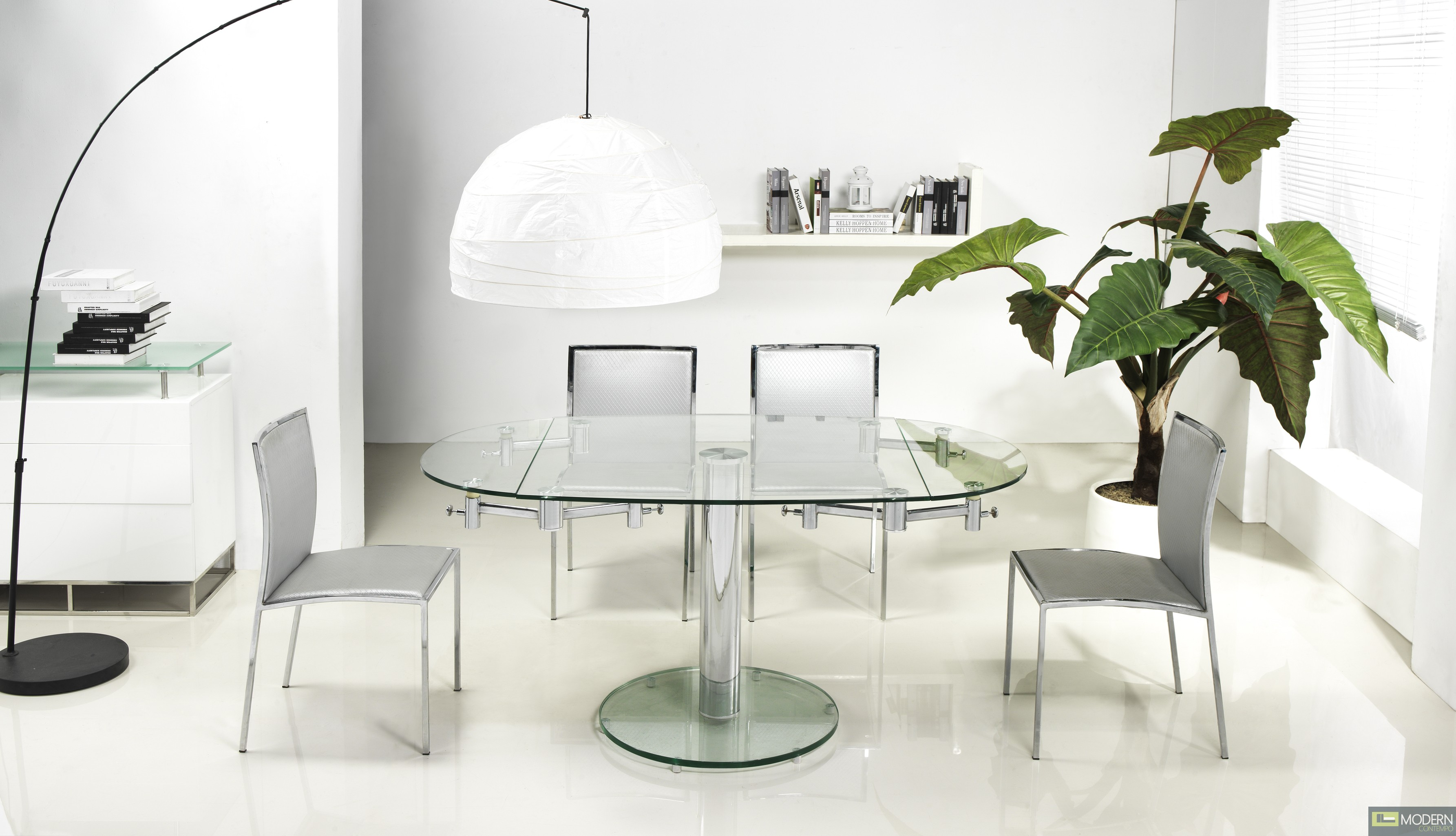 Home Dining Dining Tables Thao Modern Extendable Glass Dining Table