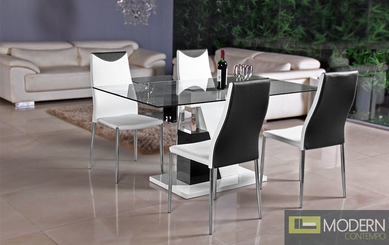 Modern White Lacquer With Chrome Glass Top Dining Table MCBMU801