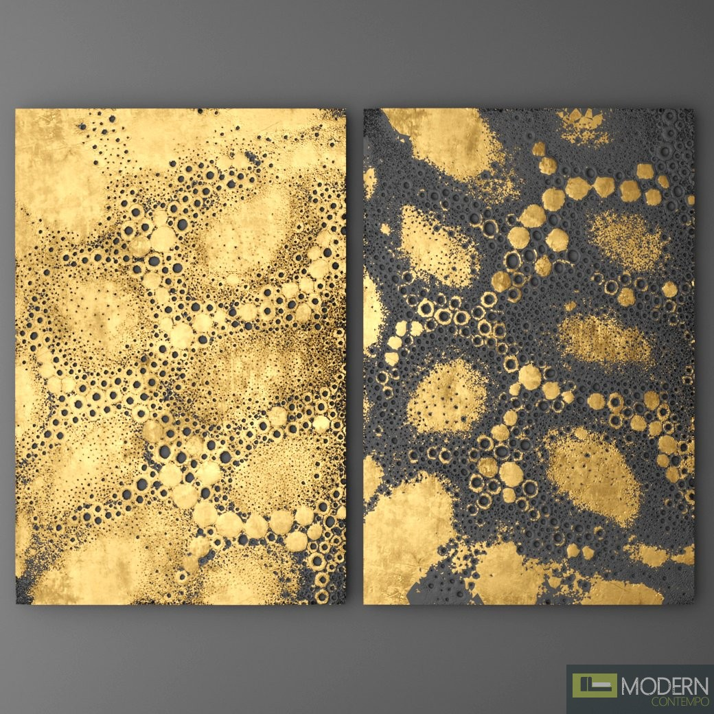 3d surface wall panel gold