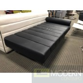 Mid Century Modern Classic Black Italian Leather Daybed