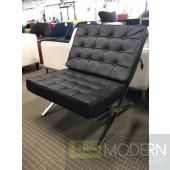 Mid Century Modern Black Italian Leather Pavilion Chair