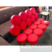 Mid Century Modern Red Italian Leather Marshmallow Circle Sofa