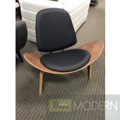 Mid Century Danish Black Leather & Walnut Shell Lounge Chair