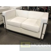 Modern Contemporary White and Black Leather Charles Grande Loveseat