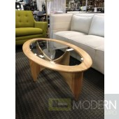 Mid Century Modern Natural Finish Wood and Glass Inlaid Coffee Table